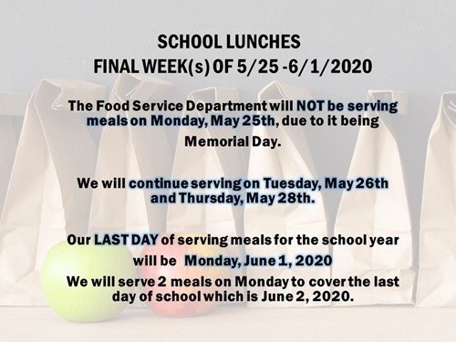 End of Year 2020 Lunch Information