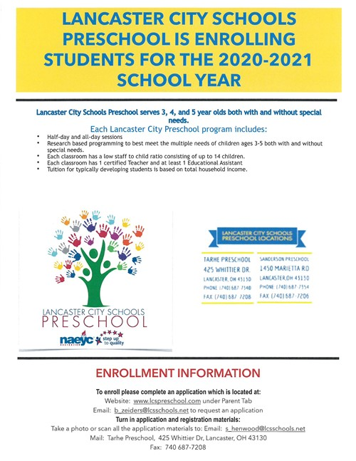 Preschool Enrollment Information flyer 2020-2021