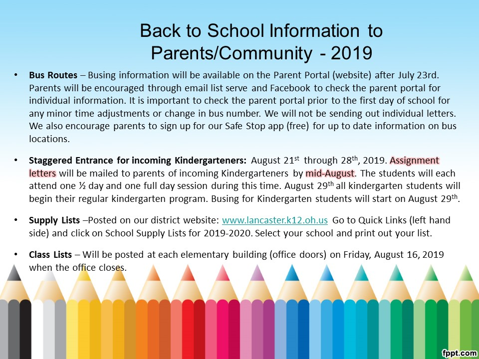Back to SCHOOL Information (Supply Lists, Schedules, Open