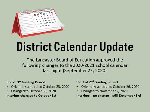 District Calendar Update 9/22/2020