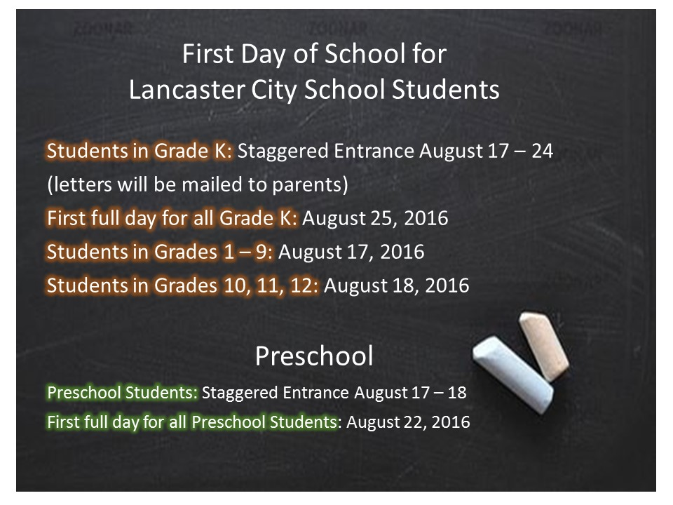 First Day of School for Lancaster City Schools Students - Mt