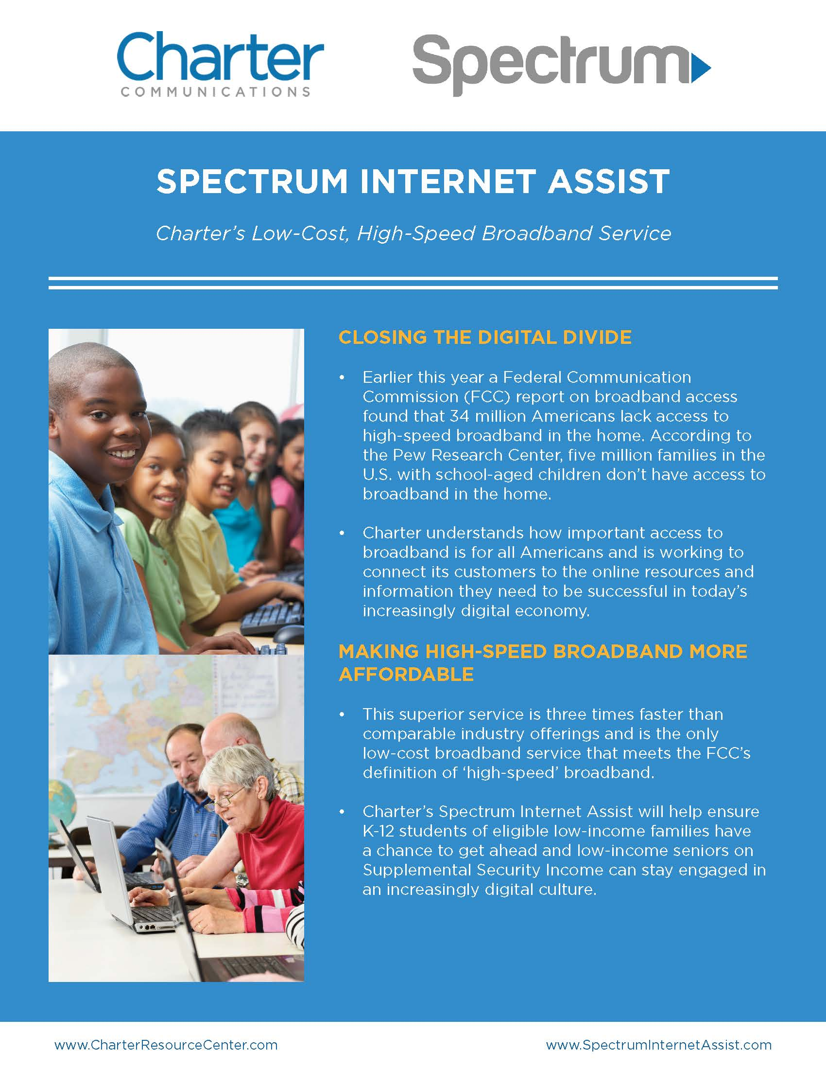 Spectrum - low cost internet information for qualifying families