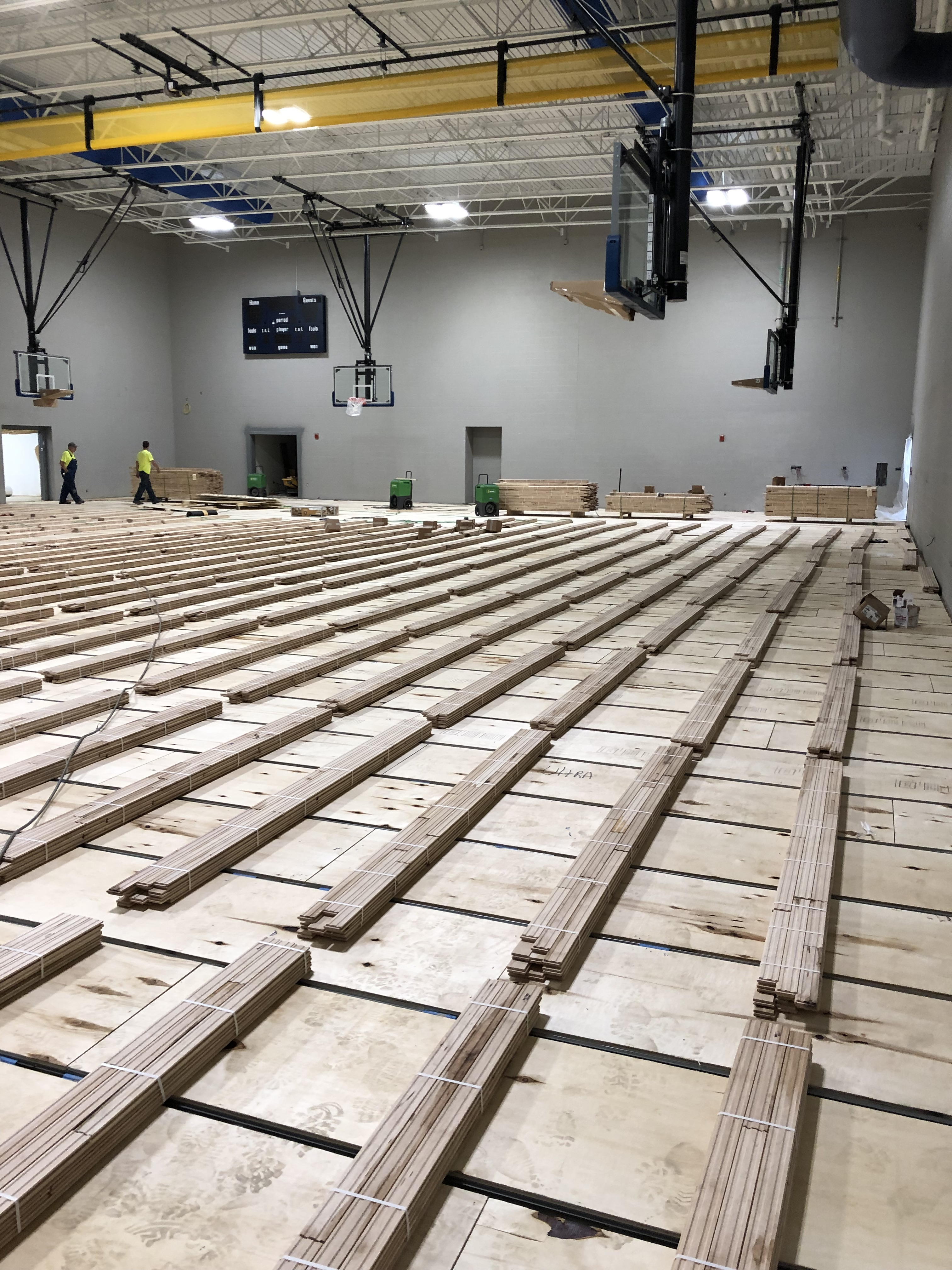 New Thomas Ewing gym floor is being installed