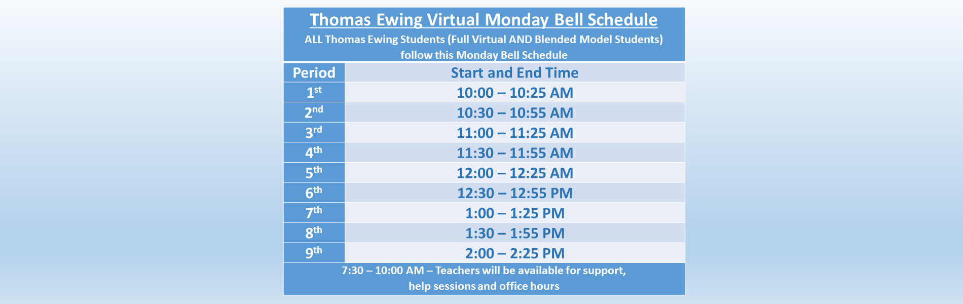 TEJH Virtual Monday Bell Schedule