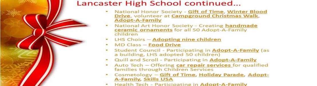 Lancaster High School - Season of Caring - continued...