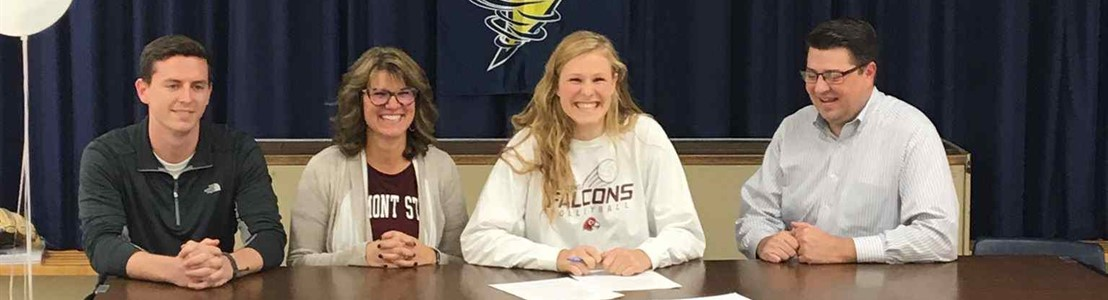 LHS Student Emily Cordle and family (signing National Letter of Intent for Fairmont State College)