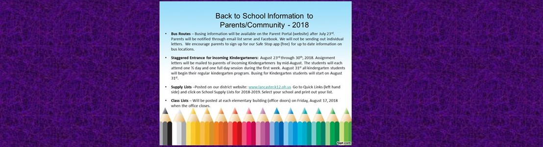 Back to School Information 2018