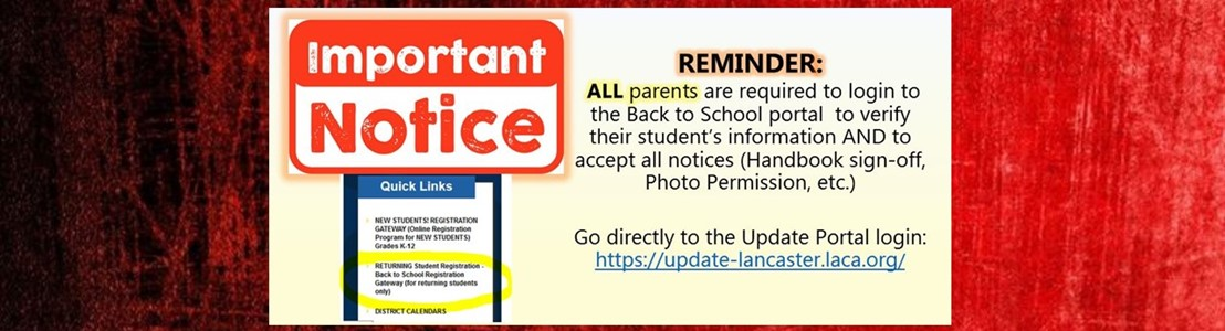 Important Notice - Reminder for parents to login to Back to School Portal and verify information