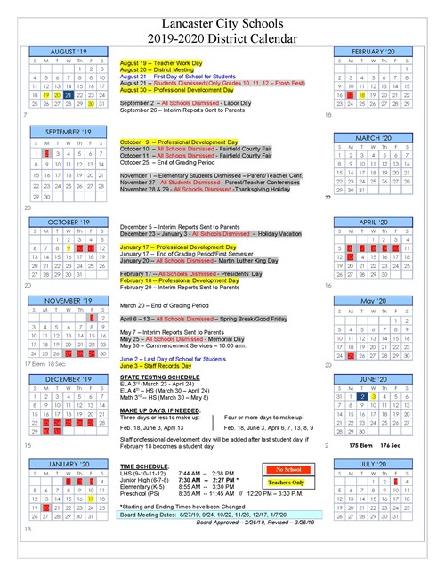 West Ada Calendar.District Calendar For 2019 2020 Approved Lancaster City School