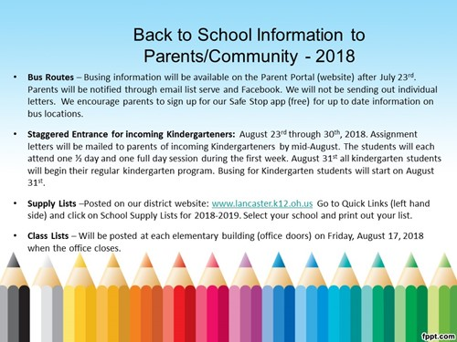 Back to School Information 2018 - Mt  Pleasant Elementary