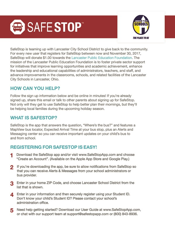 SafeStop Bus Tracking App - Have you registered yet